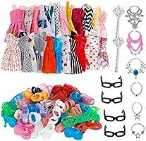 32 piezas de accesorios para muñecas, ropa de barbie, 10x vestidos lindos mezclados, 10x zapatos, 4X gafas, 6X collares,...