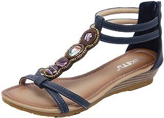 6a91166bf25dbe Subfamily Sandales de Plage perlées de Bohême Sandales Plates Femmes  Chaussures Plates Été Tongs Entredoights à