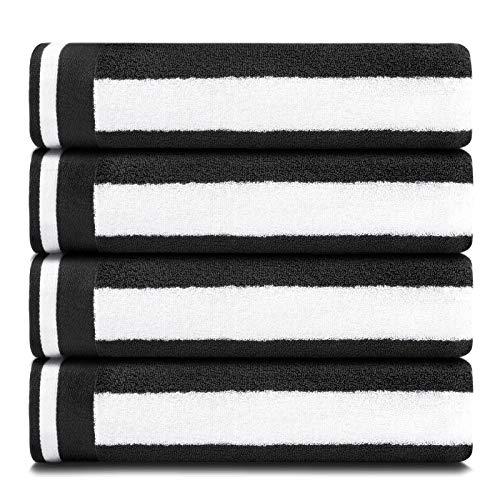 CASOFU Bath Towel Set, Cabana Stripe Bath Towels, Super Soft Cotton Bath Towels with Light Stripe - 100% Ring Spun Cotton Large Pool Towels (Black, 4 Pack)
