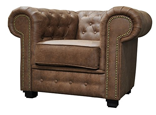 Astor Chesterfield Style Sofa Set 3+2 Seater Armchair Brown Faux Leather (Armchair)