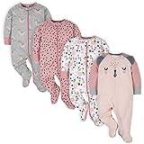 Gerber Baby Girls' 4 Pack Sleep 'N Play Footie, Bear Pink, 0-3 Months