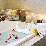 Wishstar Almohada BañEra,Cojin BañEra con 4 Ventosas,Reposacabezas BañEra Antideslizante,Bathroom Accessories para Baño Relajante,Hidromasaje(Gris)