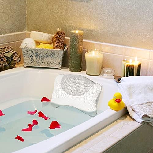 Wishstar Almohada BañEra,Cojin BañEra con 4 Ventosas,Reposacabezas BañEra Antideslizante,Bathroom Accessories