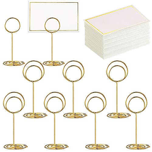 Toncoo 24 Pack Premium Table Number Holders and 24 Pcs Place Cards with Gold Foil Border, Place Card Holder, Table Sign Stand, Photo Picture Holders Wedding Table Name Card Holder(Gold)