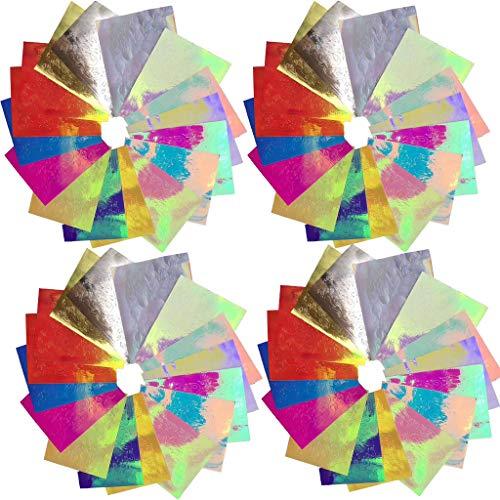 Nail Art autocollants, Fulltime autocollant d'ongle de Flamme aurore Feu ongle Holographique Bande Réfléchissant Adhésif Feuilles (48pc)