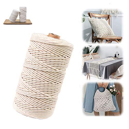Hecha a Mano Craft Cuerda,Cordel de Algodón,natural trenzado algodon,Hilo Macramé,para Envolver Regalo Navidad Colgar Fotos Manualidades Costura (Beige-100M-3mm)