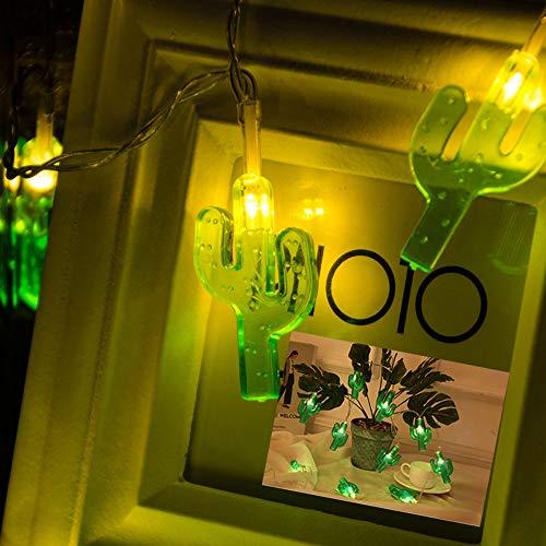 FcArt Kaktus Lichterketten Dekoration, Tropenmotiv Lichterkette, Batteriebetrieben, Urlaub Hochzeitsfeier Hausgarten Schlafzimmer Weihnachten Outdoor Indoor Dekorationen (Warmweiß 9.8 Ft 20 LED)