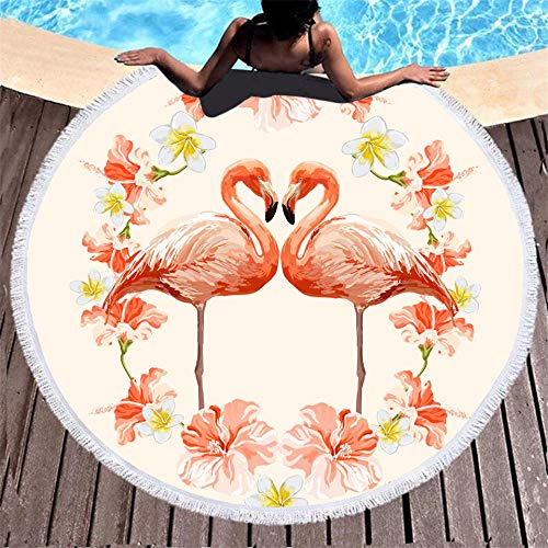 BCDJYFL 3D Impresas Toalla De Playa Flamenco Toalla De Microfibra para Sauna, Toalla De Playa Toalla De Baño Grande, Toalla De Viaje, Playa, Sauna.-Diámetro: 150Cm