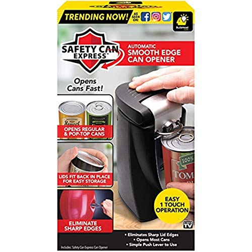 Original Safety Can Express As Seen On TV by BulbHead  Easy OneTouch Operation  Effortless Electric Can Opener Leaves Smooth Edges  Works On All Types of Cans  Lids Fit Back In Place for Storage
