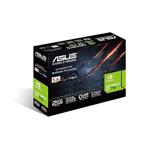 ASUS NVIDIA GeForce GT 710 Silent Grafikkarte (2GB DDR5 Speicher, 0dB Kühlung, DVI, VGA, HDMI)
