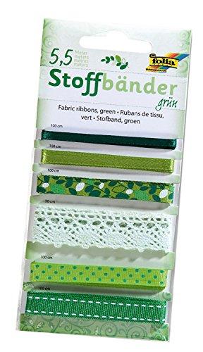 folia 12205 - Stoffbänder, 6 Stück, grün - ideal zum Dekorieren und Verzieren