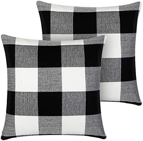 InnoGear Set of 2 Black and White Throw Pillow Cover Classic Buffalo Check Cotton Linen 18 x product image
