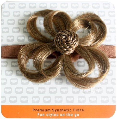 Love Hair Extensions - LHE/X/FLOWER/F/EB/10 - Fleur Bandeau en Elastique - Couleur 10 - Large Ash Brown