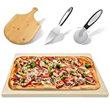 HOUSDAY Pizza Stone for Oven and Grill, 15'x12' Cordierite Pizza Grilling Stone Free Pizza Peel Paddle Pizza Cutter Pizza Server Baking Stone Thermal Shock Resistant Cooking BBQ Stone for Crispy Crust