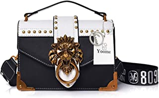 Yoome Women Designer Rivet Shoulder Bag Ladies Top Handle Clutches Handbags Lion Head Ring Purse