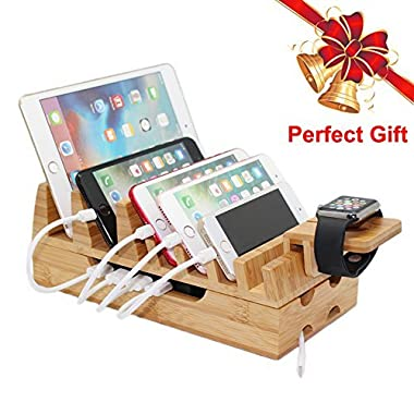Pezin & Hulin Bamboo Charging Station for Multiple Devices, Docking Stations Organizer Stand Charge for Apple Watch, Mobile Phone, Tablets, iPad, iPhone, with Case (Charging Cables & HUB NOT Included)