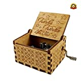 BOTON Baby Wooden Hand Cranked Collectable Engraved Music Box (Wood Colour)