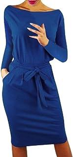 comprar comparacion SHOBDW Mujeres de Manga Larga sólido Arco Casual Bolsillo Elegante Verano Ladies Club Fiesta de Noche Mini Vestido