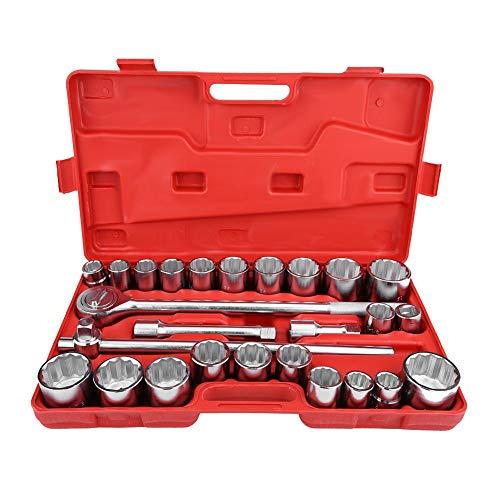 Cloudbox Juego de Llaves de Vaso 27 Piezas 3/4'Juego de Llaves de Vaso de Impacto de accionamiento estándar Juego de Herramientas de reparación de Camiones de Coches