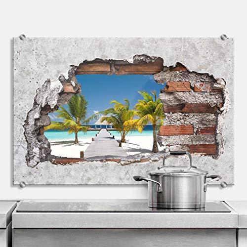Spatscherm Keuken - Een kijkje op het Paradijs - Hittebestendig Glazen Spatwand inclusief Luxe Wandklemmen - 100x70 cm (bxh)