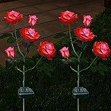 Außen Solarleuchte Garten, Blume Solar Lampen mit LED Rose Lichter, Dekoration Lichter für den Garten Rasen Terrasse Feld Weg,Rot 2er Pack
