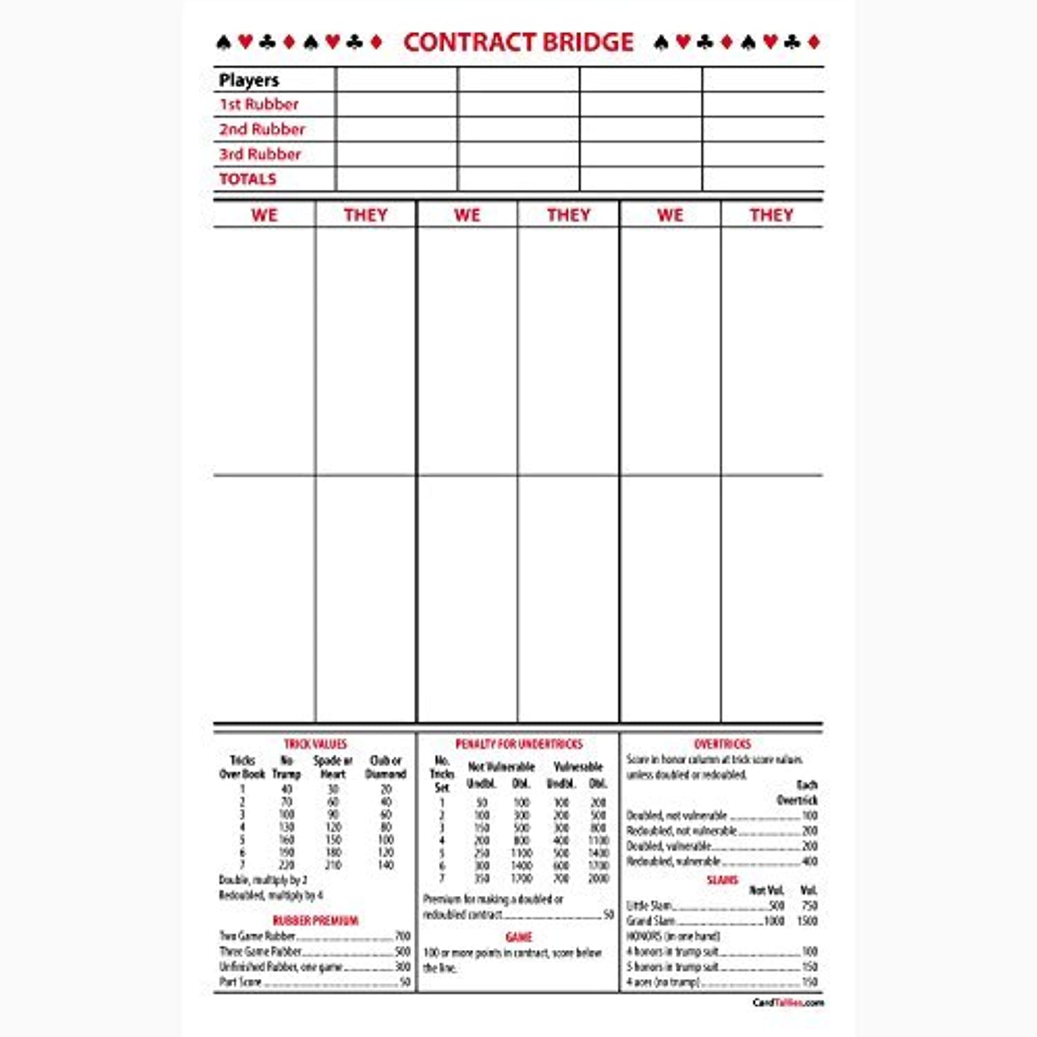 Contract Bridge Score Pads, large size by CardTallies