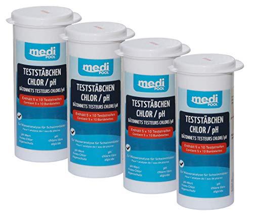 4 boîtes 502010803 MP Medipool Bandelettes de test pour chlore/pH/algues Test Protection 200 Bâtonnets