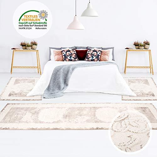 MyShop24 Bettumrandung Teppich Bettvorleger klassisch Ornamente Hoch-Tief-Effekt Beige Schlafzimmer, Läuferset: 2X 80x150 cm, 1x 80x300 cm