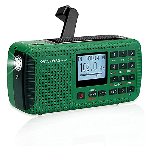 Retekess HR11S Solar Radio Dynamo, AM FM SW Kurbelradio, Camping Radio Wiederaufladbare, mit Bluetooth, Recorder, LED Lampe, Powerbank, MP3 Player, für Wandern,Camping,Ourdoor,Notfall(Grün)