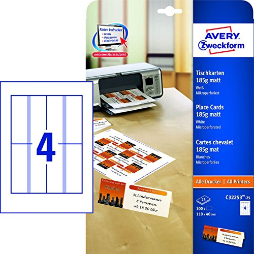 AVERY Zweckform C32253-25 Tischkarten (blanko, beidseitig bedruckbar, matt weiß, extra feine Mikroperforation, 25 Blatt) zum Selbstbedrucken auf allen Druckern
