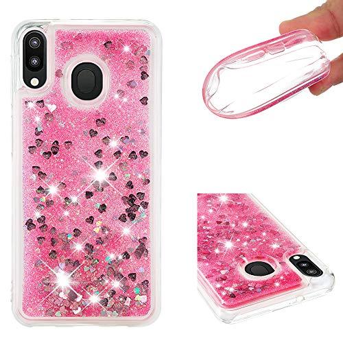 Galaxy M20 Housse Paillettes Rose, Fluide Flottant Liquide Sables Mouvant Glitter Liquide Paillette Protection Coque Antichoc Silicone Souple Brillante Étui Compatible avec Samsung Galaxy M20