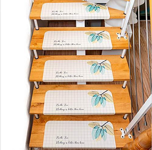 JKlazy Treppenmatte Kreative Blätter Selbstklebende Matte Waschbar Pflegeleicht Ergonomic Technology Stufenmatten Set für Treppenstufen - 15 Stück