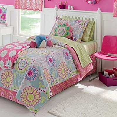 Adorable pink blue green yellow flower twin comforter set - Pink and yellow comforter ...