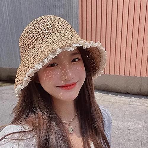 MIBQM Unisex Sombrero de Paja de Encaje de Verano Gorra de Sol Plegable-Beige