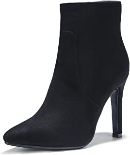 Women's Dress Pointed Toe Short Boots Chunky High Heels Side Zipper Ankle Booties
