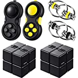6 Pieces Mini Handheld Fidget Toy Set Including Fidget Infinity Cube Mini Toy Flippy Chain and Fidget Toy Pad Stress Reducer Fidget Toy Cube for Kids Adults Anxiety Stress Relief
