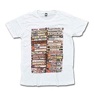 カセットテープ Tシャツ 手 白 M/L/XLサイズ グラフィックTシャツ 音楽 ホワイト 80年代 ミュージック アート (L)