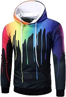 SHYY Felpe con Cappuccio da Uomo con Stampa 3D Pullover Sweatshirt Hip Hop a Maniche Lunghe Felpa Colorata in Batik con Co...