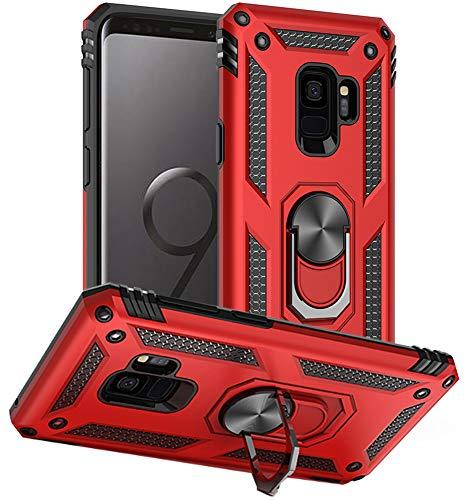 Yiakeng Funda Samsung Galaxy S9 New Edition, Galaxy S9 Funda, Silicona Armor Case con Kickstand para Samsung Galaxy S9 (Rojo)