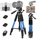 """JOILCAN 65"""" Camera Tripod, Aluminum Lightweight Phone/Tablet Stand 11 lbs Load with Universal Phone/Tablet Mount,2PC Quick Plates for Traveling,Live Streaming, Video Recording(Blue)"""