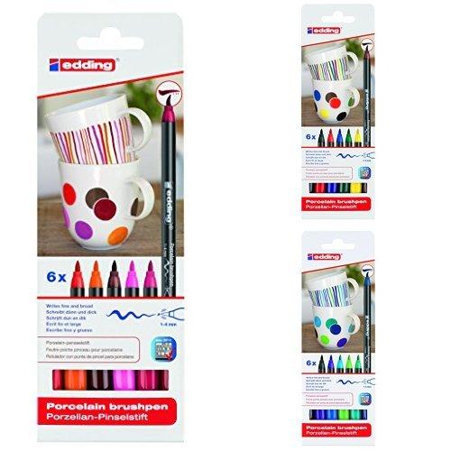 Edding 4200-6-S-999 - 6 rotuladores para porcelana, gama rojo/rosa + 4-4200-6 - 6 rotuladores para porcelana, multicolor + 4200-6-S-099 - 6 rotuladores para porcelana, gama azul/verde
