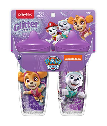 Playtex Sipsters Paw Patrol Girls Glitter Spout Sippy Cup, 9 Oz, 2 Pack
