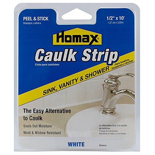 Homax Sink, Vanity and Shower Caulk Strip, White, 1/2