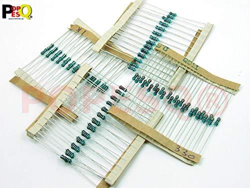 POPESQ® - 100 Piezas/pcs. x Resistencias/Resistor Set Metal/Metal Oxide 1% 0.6W 4 x 25 Piezas/pcs.Resistencias (220 Ohm, 330 Ohm, 1K, 10K) #A835