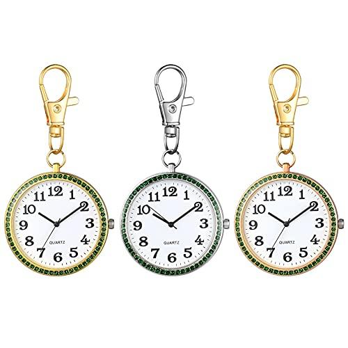 JewelryWe 3pcs Taschenuhr mit Karabiner Schlüsselanhänger Quarzuhr Analog Strass Uhr für Ärzte Krankenschwestern Sanitäter Köche Gold Weiß