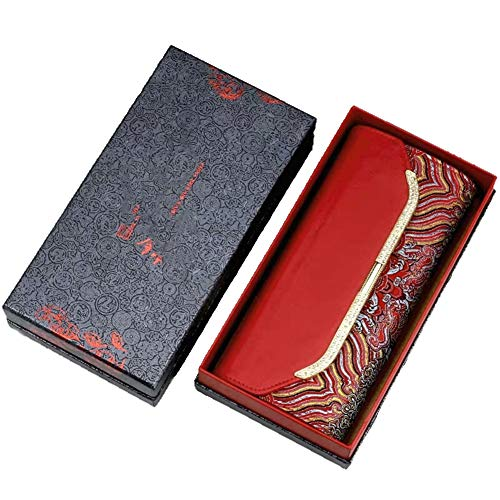 LSCZQ stijlvolle persoonlijkheid unieke handgemaakte geborduurde dames portemonnee, kwaliteit lederen stikstof met Chinese stijl elementen, slijtvaste handwerken