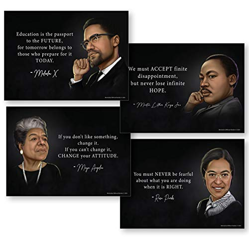 Black History Month Decorations (Set of 4 Powerful Black History Posters) Set Includes Martin