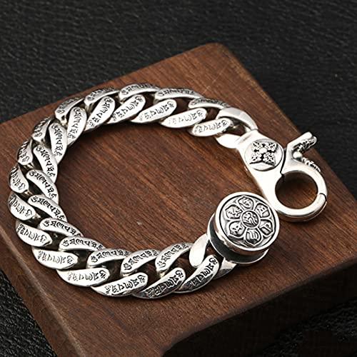 WWZY Pulsera de Plata Unisex Plata de Ley 925 Vintage Cadena Enlace Hecha a Mano Cadena Enlace Regalo de joyería Regalo para Hombre Mujer 20-22cm,Plata,20cm