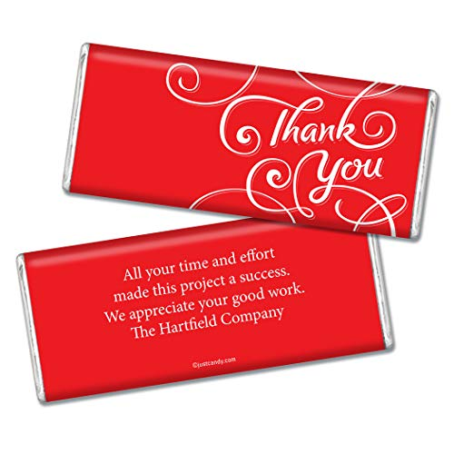 Thank You Personalized Chocolate Bar Wrappers - Scroll (25 Wrappers) Red