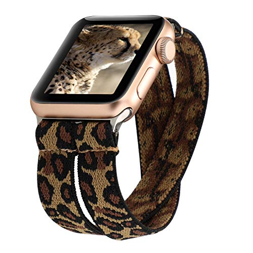 YOSWAN Stretchy Loop Strap Compatible for Apple Watch Band 40mm 38mm iWatch Series 6/5/4/3/2/1 Stretch Elastics Wristbelt Double Tour Cheetah (Brown, 38mm/40mm)